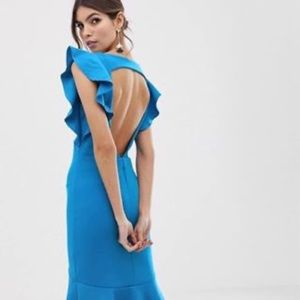 Blue open back ASOS dress with ruffle detail